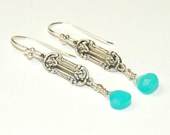 Blue Chalcedony Earrings - Turquoise Blue Jewelry - Sterling Silver - Dangle Earrings