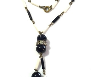 SALE Clearnce SALE Amazing Art Deco Black White Glass Ball Rhinestone Vintage Necklace