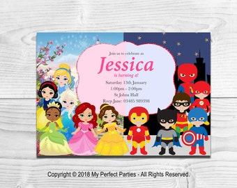 DIGITAL DOWNLOAD - Personalised Princess and Superhero Children's Birthday Party Invitations - PRINTABLE