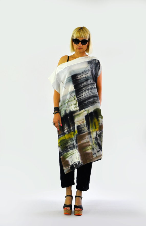 Painting Silk Summer Beach painted hand coverup casual Luxury tunic Abstract silk loose Woman tunic silk day tunic silk 100 T1266 top SI8WUq6
