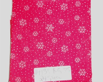 "Fabric - 24"" piece-Christmas/Xmas/Winter-White Sowflakes/Snow/Dots on Red Background (#1938)"