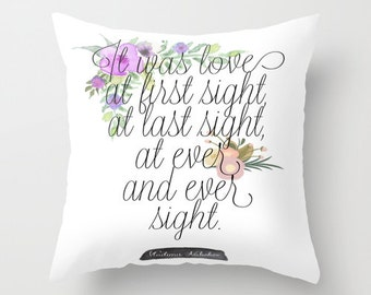 Nabokov Pillow - Floral Print Bookish Pillow