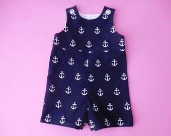 Jon jon romper for boys or girls navy blue with white anchors