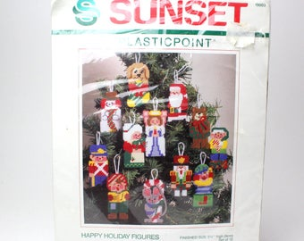 Vintage 1989 Sunset Christmas Tree Ornaments Stitch Craft Kit - Plasticpoint Happy Holiday Figures Gayle F Glass Santa Claus Snowman Angel