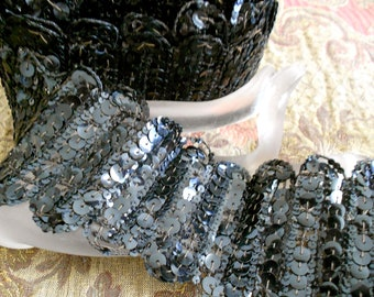 Victorian Black Sequined Trim