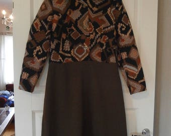 70's Brown Polyester / Cotton Blend Dress