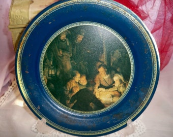 SALE - 1974 Ohio Art Tin Plate - The Adoration of the Shepherds - by Rembrandt