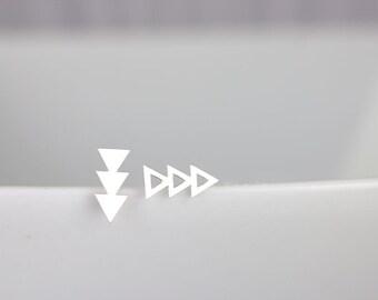 Triangle Stud Earrings - Sterling Silver Triangle, Triple Triangle Studs, 3 Triangles, tiny triangle earring, Minimalist earrings