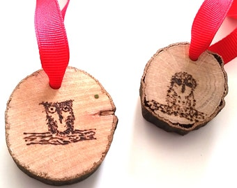 Mini Owl Ornament Set of 2 - woodburning pyrography