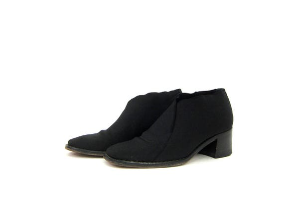 Black Elastic & Leather Boots Chunky Block Heel Shoes Stretch Elastic Shoes Minimal Ankle Booties 90s Modern Slip Ons Vintage Womens 6.5