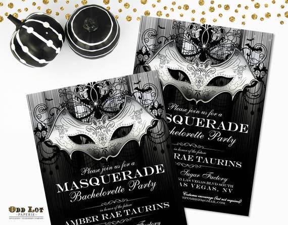 Masquerade Wedding Invitations: Masquerade Party Invitation Halloween Party Invite Gothic Bat