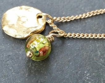 Bright green rose Czech glass and gold pendant charm necklace