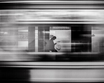 NYC Black and White Speeding Subway, New York, Wall Art, Surreal, Fine Art, Photograph, Art, Urban, Train, New York Photography