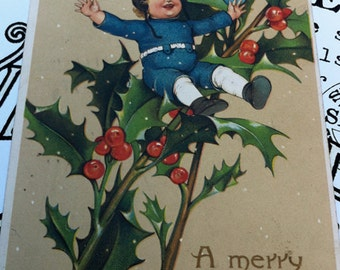 Antique German Embossed Postcard, Boy and Girl on Holly Branch