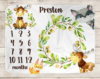 Woodland Animals Blanket, Baby Milestone Blanket, Monthly Growth, Baby Shower Gift, Personalized Blanket, Baby Boy, Photo Prop, Moose, 1045