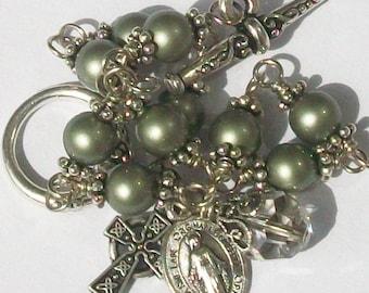 Irish Celtic Cross Pearl Rosary Bracelet, Green, Swarovski, Unbreakable, Catholic, Full of Grace Rosary
