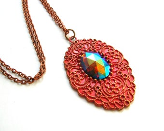 Bohemian Necklace - Salmon Boho Necklace - Vintage West German Glass Cabochon