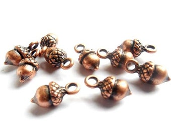 10 Antique Copper Acorn Charms - 27-29-7