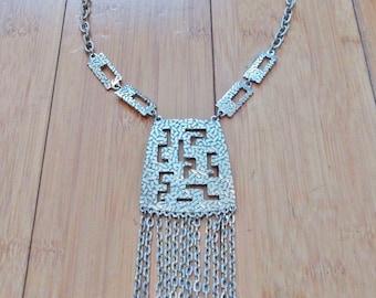 Vintage 1970 Aztec Mayan Chain Fringe Silver Metal Big Huge Art Runway Necklace