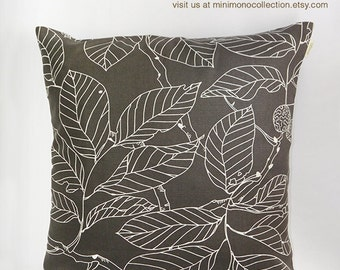 """White Color Natural Leaf Print on Dark Grey Cotton Pillow Cover - Throw Pillow - Decorative Pillow - 17"""" x 17"""""""