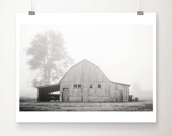 barn photography black and white photograph country landscape farmhouse decor midwest decor fog photograph rustic decor