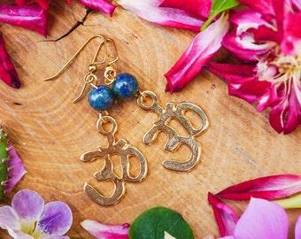 OHM Earrings, Golden Earrings,Malachite Earrings,Meditation Earrings,Buddhist Earrings,Buddhist Jewelry, Boho Earrings, Yoga Earrings, Zen