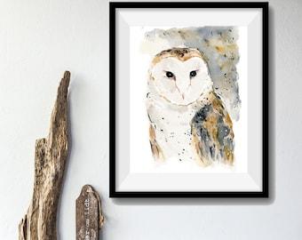Barn Owl art print, watercolor barn owl print, wild life art, birds art print, brown, Nature art, woodland art, Halloween