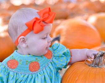 Orange baby headband- orange bow headband, orange newborn headband, orange baby bow headband, orange headband, baby girl headband, halloween