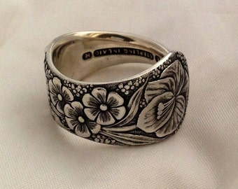 Spoon Ring, Hiawatha 1886, Size 4 to 12, Choose Your Size, Antique Ring, Silver Ring, Floral Ring