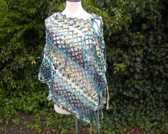 "Poncho-Scarf ""loopo"", crochet scarf, vest, poncho, loop, petrol turquoise yellow"