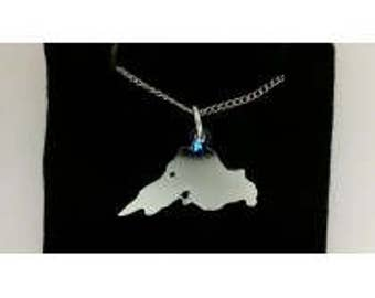 Silver plated Lake Superior Charm or Pendant