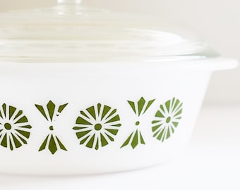 Vintage Pyrex - Glasbake Round Casserole Dish with lid - Green Pattern - Made In USA - 1960's Era