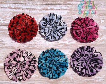 ON SALE Sample Set of 6 Damask Print Swirl Satin Chiffon Twirl Flowers - Red, Pink, Turquoise, White, Hot Pink, Lavender - Supplies, Baby He