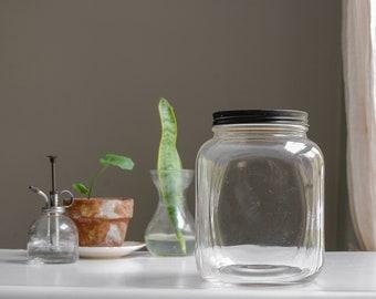 Hazel Atlas Glass Canister Jar - Old Kitchen Canister - Farmhouse Decor