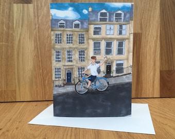 Cycling in Bath greeting card, 5x7 inch