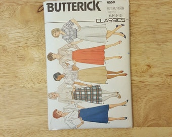 Vintage Butterick pattern 6550, Womens'/Misses high-wasted Midi Skirt with pleats or pockets, size 14-16-18
