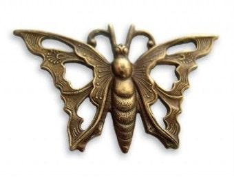 Vintaj Natural Brass Butterfly 34.5 x 21mm, 1 piece (P30)