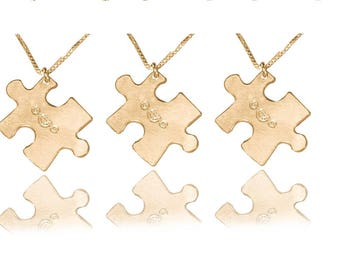 Friendship necklaces for 3 14k gold puzzle piece friendship necklaces for 3