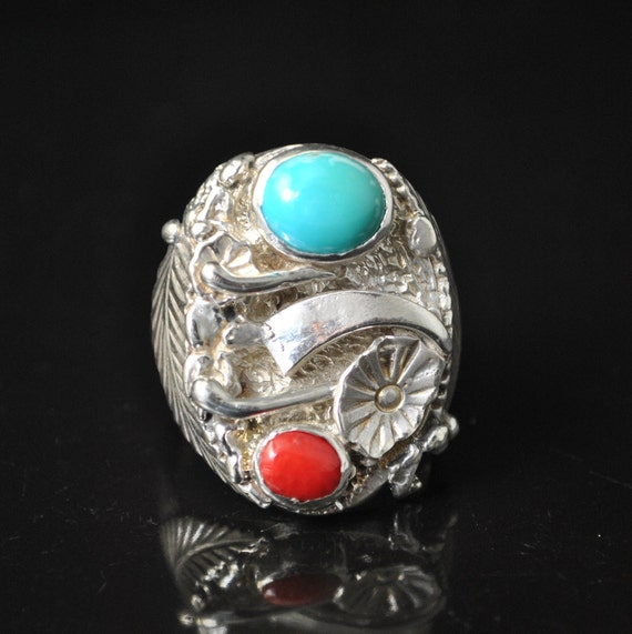 Sterling Silver Turquoise Coral Native American Style Ring Sz 10.75 #10757