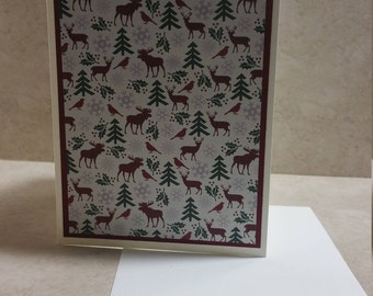 5 Reindeer Note Cards, Christmas Note Cards, Holly Note Cards, , Christmas tree & Reindeer  Note Cards, Blank Note Cards