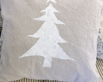 Cottage Christmas pillow cover 18 x 18 inches stenciled with Snowy White Tree