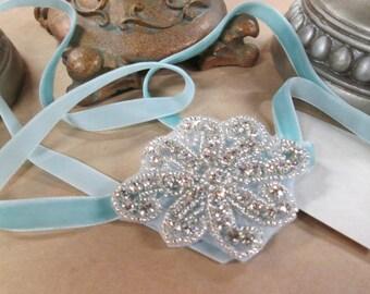 Velvet Rope Headband in Pale Blue - Neckalce, Bracelet, Belt - Great Gatsby, 1920, Flapper Style
