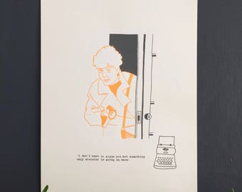 It's a mystery - Hand printed, limited edition A3 screen print - Orange and Grey