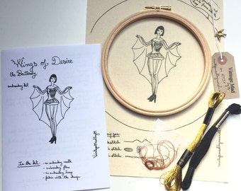 EMBROIDERY KIT Wings of Desire The Batlady, Bat Pin-Up