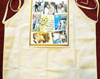 Photo Apron - One 8 in x 10.5 in Photo Collage with up to 8 photos - print Horizontal or Vertical - Great Custom Photo Gift - Aprons 2 sizes