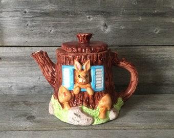 Vintage Tree House Rabbit Teapot