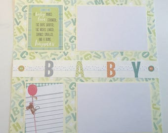 Baby makes a home layout  premade 12 x 12 scrapbook page.