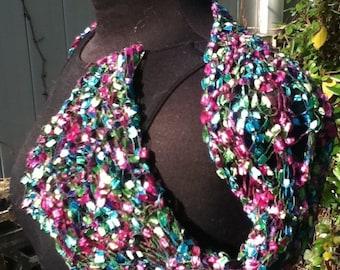 Bejeweled - handknit shrug novelty yarn