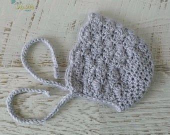 Grey Vintage Hand Crochet Knitted Newborn Baby Bonnet Beanie Hat