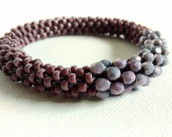 Bracelet, Bangle, Cuff, Purple, Jewelry, Gift, Glass Beads